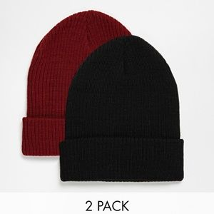 ASOS Slouchy Beanie Hat 2 Pack In Black And Burgun